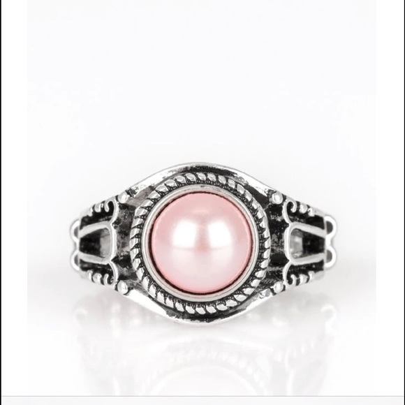 K43 Silver Pink Pearl Ring